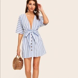 Striped Plunging Backless Dress